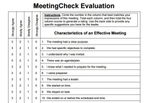 Free Post-Meeting Evaluation Form